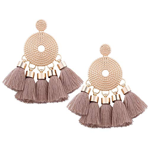 Vintage Punk Boho Bohemian Thread Tassel Jewelry Alloy Dangle Drop Earrings Ethnic Geometric Charms Eardrop (Light Brown)