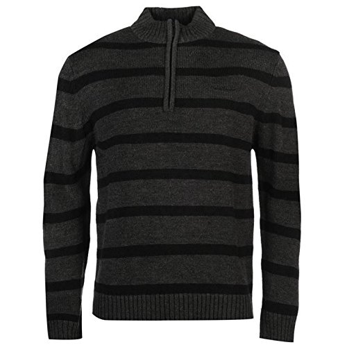 Pierre Cardin ¼ Zip Stripe Jumper Herren anthrazit Pullover Pullover Top