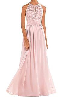 69a60df05a1b5 Firose High Neckline Halter Lace A-line Chiffon Floor-Length Bridesmaid  Dress