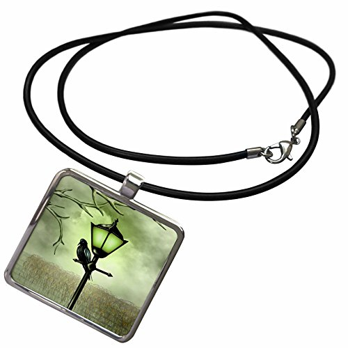Lamp Dreams Of Mist (3dRose Dream Essence Designs-Animals - Crow Sitting on Street Lamp - Necklace with Rectangle Pendant (ncl_239254_1))