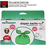 Hathaway Sassy Small Diaper Bags, Tie Baby Disposable Diaper Sacks bags, 250 Counts, Safe & Biodegradable, with Baby Powder Scent