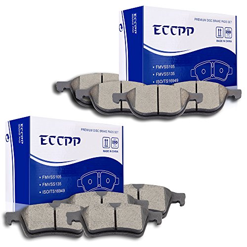 (ECCPP 8pcs Front Rear Ceramic Disc Brake Pad Kit for 2012-2015 Ford Focus,Mazda 3/5,2008-2013 Volvo C30,2006-2013 Volvo C70,2004 2006-2011 Volvo S40/V50)