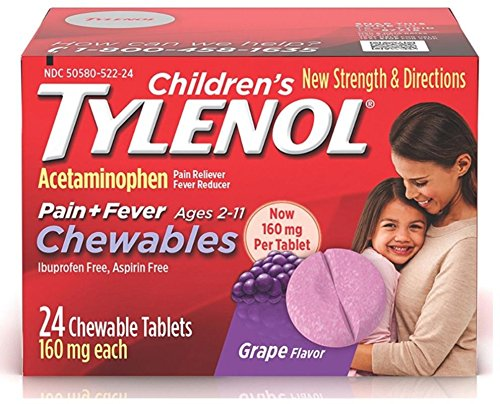 TYLENOL Children's Pain + Fever Chewables Tablets 160 mg, Grape Flavor 24 ea (3 Pack) -