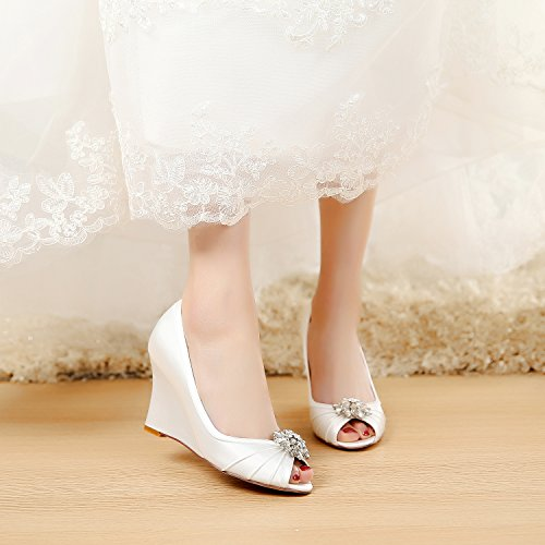 LUXVEER Ivory Wedding Wedges with Silver Rhinestone Brooch,Medium Heels 3.5 inch Ivory