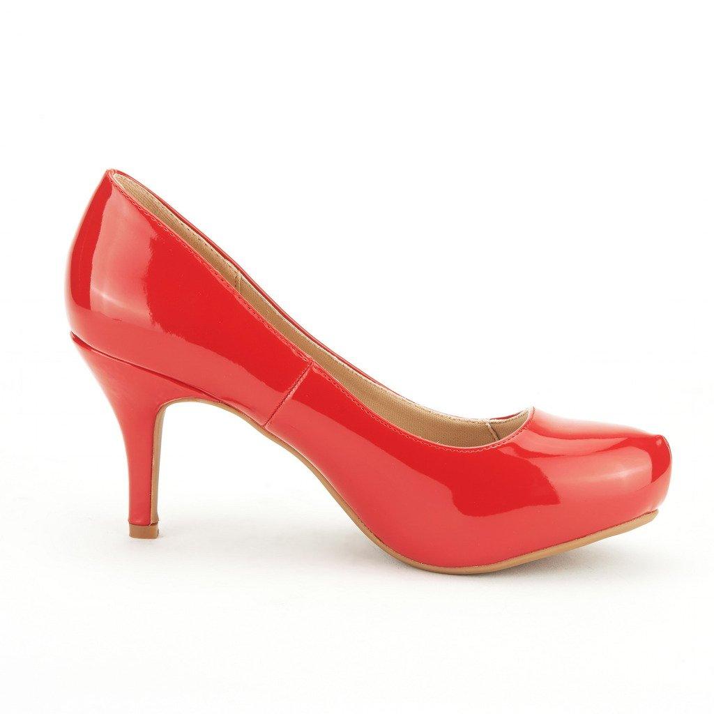 DREAM PAIRS ROMA-1 Women's Bridal Low Wedding Party Glitter Rhinestone Low Bridal Heel Platform Pump Shoes B016E4VRWU 7 M US|Tiffanny-red-pat 5f2cb6