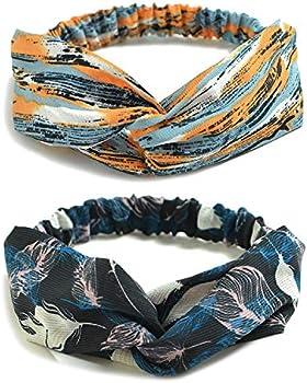 10 Pack Womens Headbands Boho Flower Printing Twisted Criss Cross Elastic Hair Band Accessories B