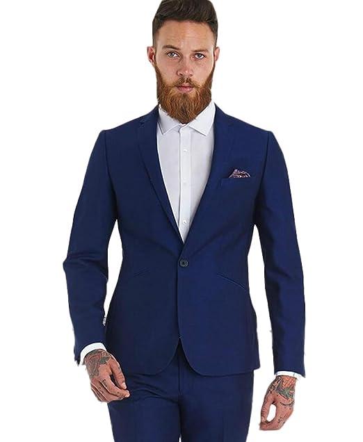 Amazon.com: AK belleza solapa azul oscuro 2 piezas traje de ...