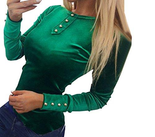 Blouses Unie Et Longues Vert Couleur Col avec Tops Rond Blouse Haut Femme Fashion Chemisiers Slim Manches Bouton 7r7Hq6X