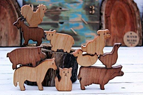 Wooden Set of animal farm, Wooden animal, Wooden toys, Waldorf toys, Waldorf animal toy, Eco-freindly toy, Toys wooden, Wooden puzzle, Christmas toys