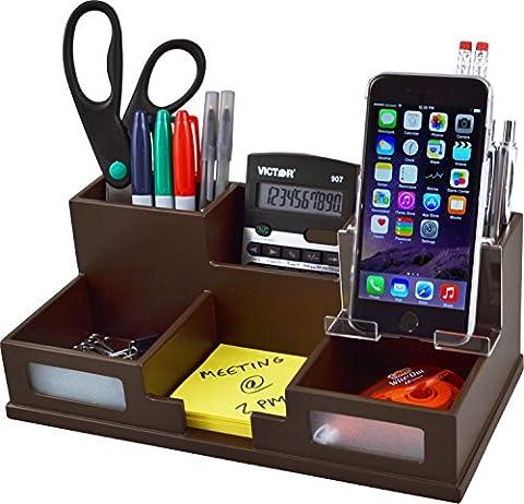 Victor Wood Desk Organizer with Smart Phone Holder, Mocha Brown, B9525 - Brown Phone