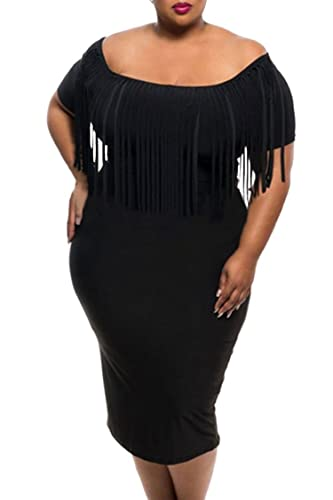 Veroge Womens Plus Size Fringe Top Off Shoulder Bodycon Midi Dress