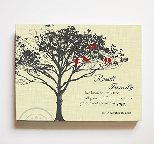 - MuralMax Personalized Family Tree & Lovebirds, Stretched Canvas Wall Art, Make Your Wedding & Anniversary Gifts Memorable, Unique Wall Decor, Light Yellow, Size 16 x 12-30-DAY
