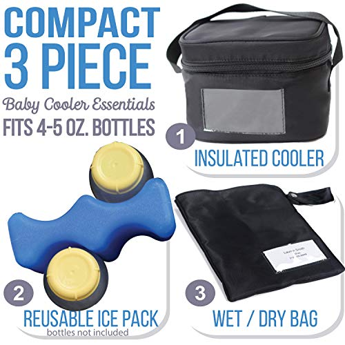 Zohzo Breastmilk Compact Cooler Bag with Ice Pack - Insulated Breast Milk Cooler with Accompanying Wet/Dry Bag (Black) (Best Cooler For Traveling With Breastmilk)