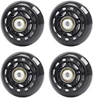 ABEY 4 Packs Skate Replacement Wheels for Kids Teens Adjustable Hockey Inline Roller Skates and More - 64mm Di