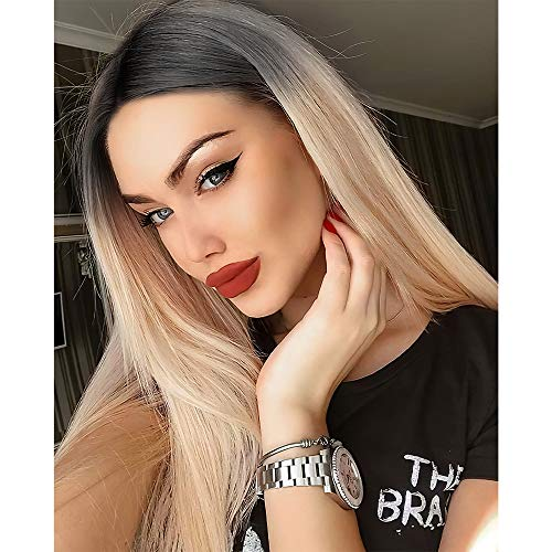 Vigorous Long Straight Ombre Blonde Wigs for Women Dark Roots 28 Inches Synthetic Middle Part Blond Silk Full Wig for Party Daily Use Natural Hairline Replacement Wigs(Ombre Blonde)