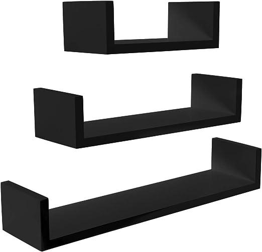 Meerveil Estantería de Pared Juego de 3 Estanterías para Pared Cubos Estante Mural Estantería Colgante en Forma de U Set de 3 Estantes Flotantes 60/45/30cm La Carga máxima 15kg Negro: Amazon.es: Hogar
