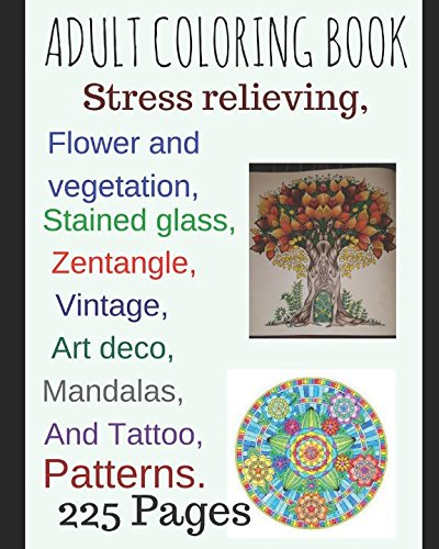 adult-coloring-book-stress-relieving-flower-and-vegetation-stained-glass-mandalas-zentangle-art-deco