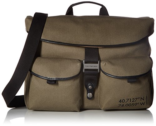 Calvin Klein Men's Twill Messenger with Smooth Trim, Natural/Black/Brushed Gunmetal by Calvin Klein