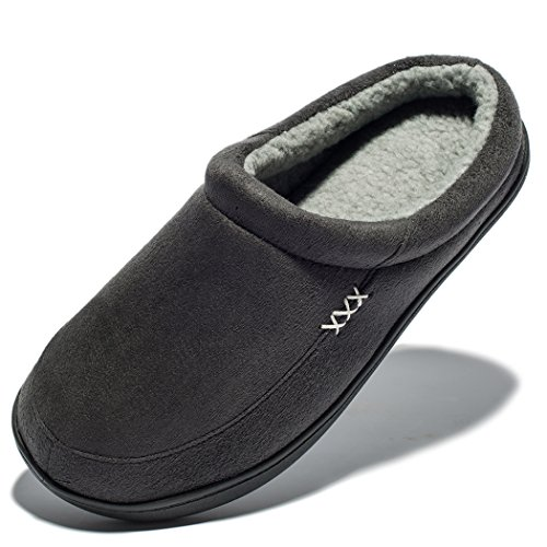 NDB Men's Warm Memory Foam Suede Plush Shearling Lined Slip On Indoor Outdoor Clog House Slippers (8-8.5 D(M) US, Dark Grey)