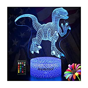 Dinosaur Night Lights for Kids Christmas Gift Birthday Indoraptor Toy 3D Illusion Lamp Dino Gifts for Boys Home Bedroom Party Supply Decoration 7 Color Blue Remote Raptor