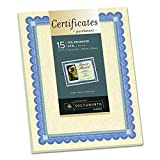 "Southworth Foil Enhanced Parchment Certificate, 8.5"" x 11"", 24 lb, Ivory, Blue/Silver Border, 15 Sheets (CT1R)"