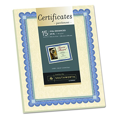 "Southworth Foil Enhanced Parchment Certificate, 8.5"" x 11"", 24 lb, Ivory, Blue/Silver Border, 15 Sheets (CT1R) by Southworth"