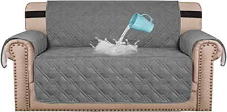 Amazon Com H Versailtex 100 Waterproof Loveseat Protector For Dogs Pets Secure With Strong Strap Couch Covers Sofa Covers Loveseat Cover Slipcover With Non Slip Backing Seat Width 54 Large Grey Home Kitchen