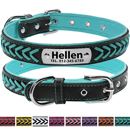 Vcalabashor Custom Leather Collar,Personalized Engraved Dog Collar with Stainless Steel On Collar Nameplate,Teal Blue