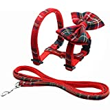 Mihachi Cat Harness Adjustable with Removable Bowtie-for Kitty & Rabbit,Plaid Harness and Leash Set, Red