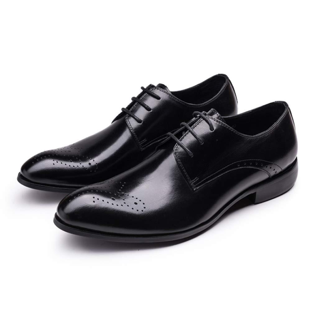 XYCSZQ Männer Komfortable Lederschuhe Gummi Business Casual Komfortable Männer Broch Atmungsaktive Lace schwarz 99742b