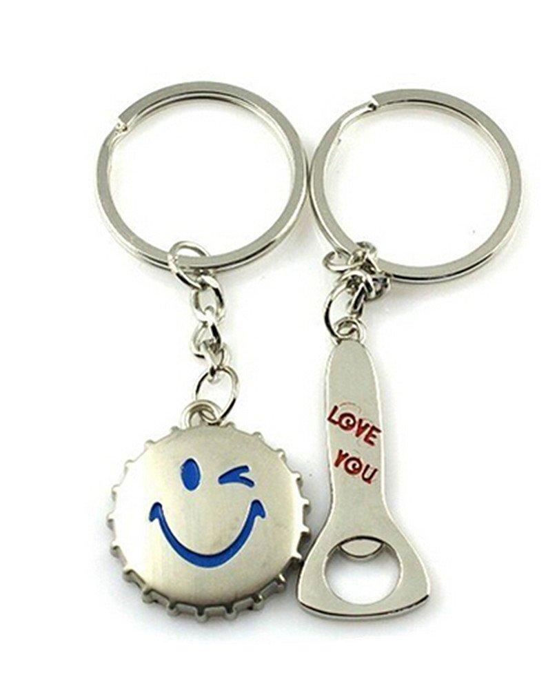Samgu Sourire Amour Bouteille de bière Caches Décapsuleur Porte-clés Lovers Couple Keyfob