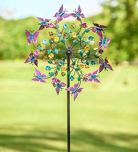Colorful Metal Butterfly Wind Spinner - 24 Dia. x 10 D x 75 H