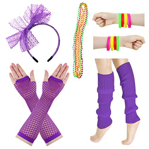 JINSEY Women's 80s Outfit accessories Leg Warmers Gloves For 1980s Theme Party Supplies-Purple