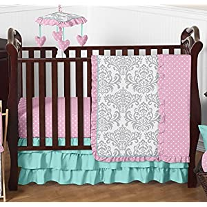 Boutique Skylar Turquoise Blue Pink Polka Dot and Gray Damask Girls Baby Bedding 4 Piece Crib Set Without Bumper
