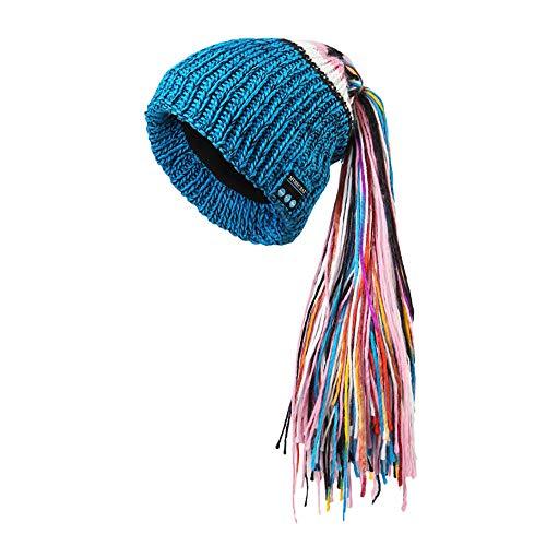 MaxFox 4.2 Wireless Bluetooth Headset Smart Cap Headphone Speaker Mic Knit Ponytail Tassel Hats For Party Wedding (Blue)