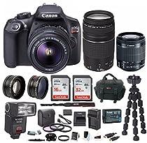 Canon EOS Rebel T6 DSLR Camera w/ 18-55mm & EF 75-300mm Lenses & Zoom TTL Flash Gun & 48GB Supreme Bundle
