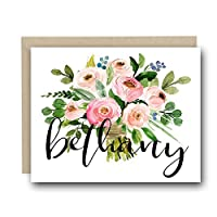 Personalized Floral Note Card - Wedding Day Notecard, Wedding Stationary, Wedding Bridal Party Cards