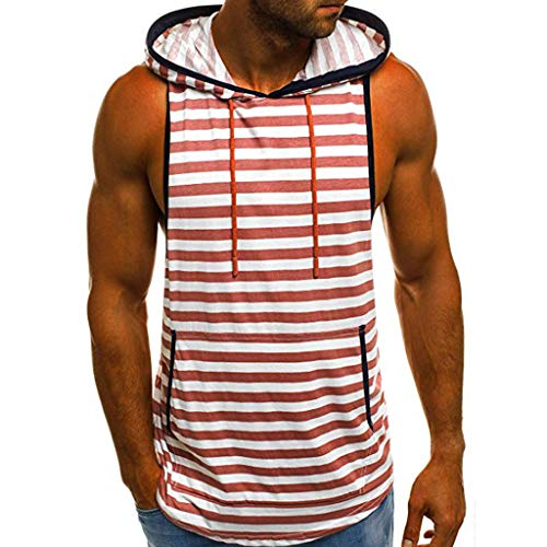 Hosamtel Men Hooded Sleeveless T-Shirt Hoodie Stripe Print Fashion Casual Loose Sport Vest Tank Tops Blouse with Pocket -