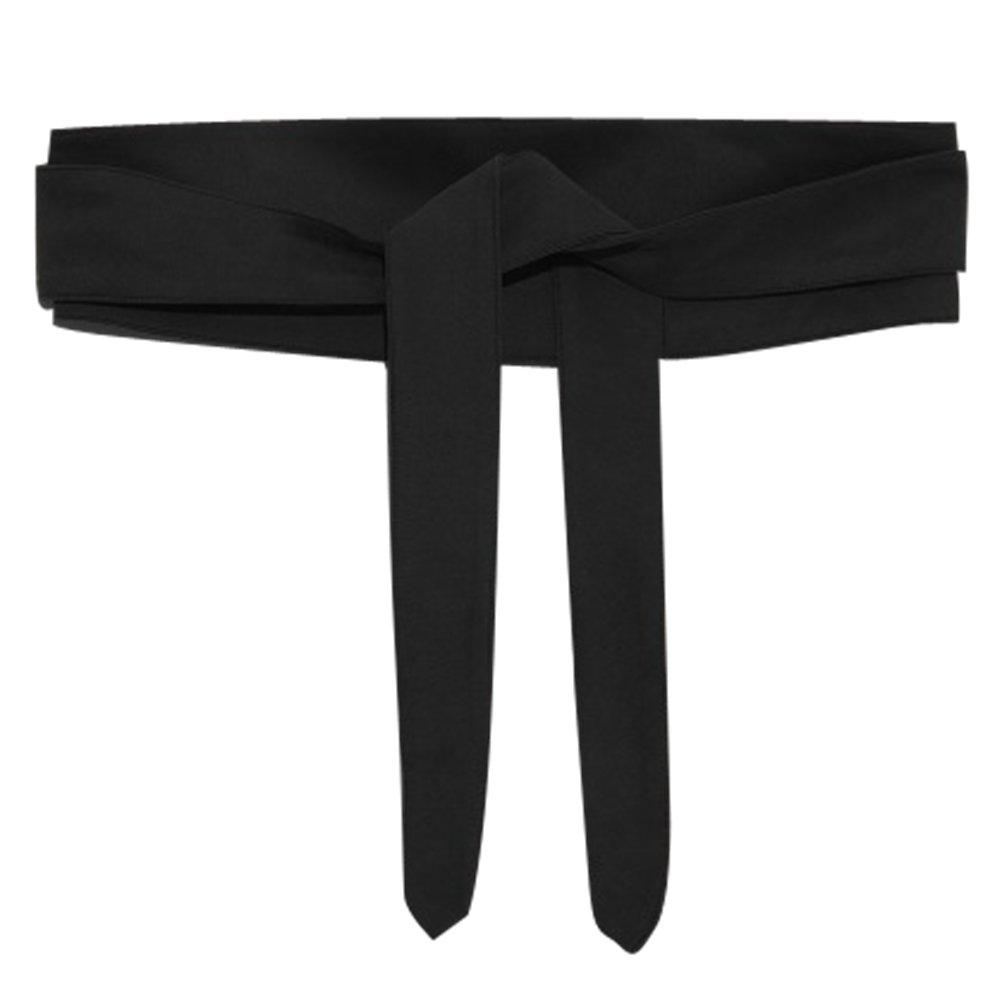 Ababalaya Women's Retro Sweet 4×80inch Ultra Wide Suede Bow Belt Girdle for Coat Dress Decoration,Black