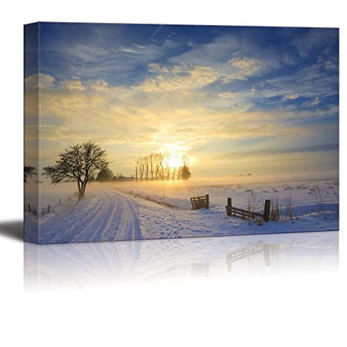 Sunset Landscape in Winter with Snow in Holland Wall Decor ation