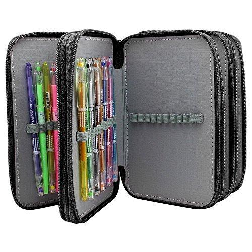 LORJE Multilayer Colored Pencil Case, Large, 72 Slots Black Pen Bag -