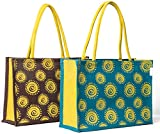 H&B Jute Shopping Bag - Designer Tote Bag | Trendy Bags | Shoulder Bag | Fashionable Tote | Office Bags | Grocery Bag | Handbag | Jute Bag | Reusable Bags - Combo of 2 (Combo Offer - Spiral -BRN-BLU)