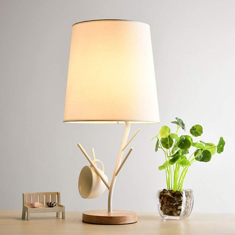 ZMING Simple lámpara de mesa lámpara de pie de condensación Dios tranquila lámpara de iluminación del dormitorio de dormitorio de madera de cabecera estudio de oficina Iluminación (Color : White)