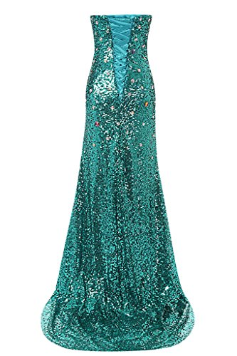 sunvary Graceful Mermaid Shade Slide Slit Sweetheart dama de honor vestidos de vestido de fiesta Peak Green