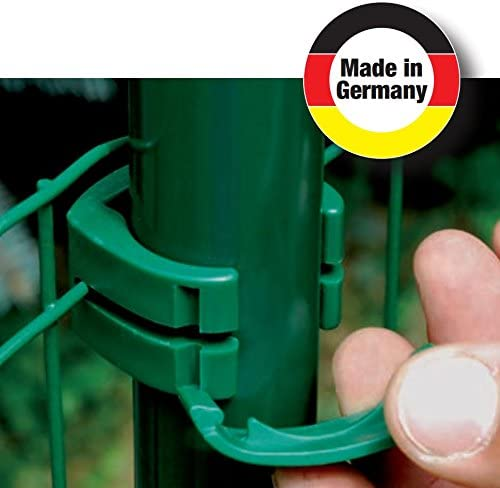 34 mm Zaun Pfosten Schelle Halter Clip f/ür Gartenzaun Schwei/ßdraht Gartengitter am Pfahl in gr/ün RAL 6005