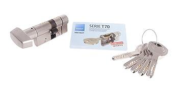 Tesa Assa Abloy Cilindro de Alta Seguridad, Botón - Leva Larga, Niquelado, 30X30