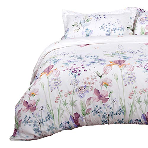 (Bedsure Printed Floral Duvet Cover Set King Size White Soft Duvet Cover Zip Bedding Sets Collection )