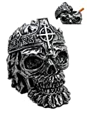 Atlantic Collectibles Crowned Greenman King Skull Decorative Cigarette Ashtray Figurine With Lid 4.25''L