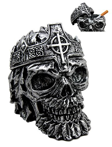 Atlantic Collectibles Crowned Greenman King Skull Decorative Cigarette Ashtray Figurine With Lid 4.25''L by Atlantic