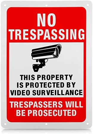 CIGERA Private Property No Trespassing Sign, Video Surveillance Sign,14x10 Inch Rust Free .040 Aluminum UV Printed,Reflective and Weatherproof,Easy to Mount for Indoor and Outdoor Usage